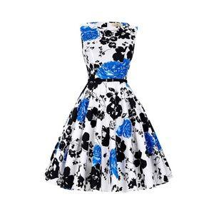 Dresses & Skirts - Floral-47 Boatneck Vintage Tea Belted Dress